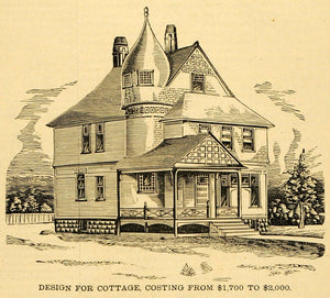 1891 Prints Cottage Architectural Design Floor Plans Victorian Home Hopkins MAB1