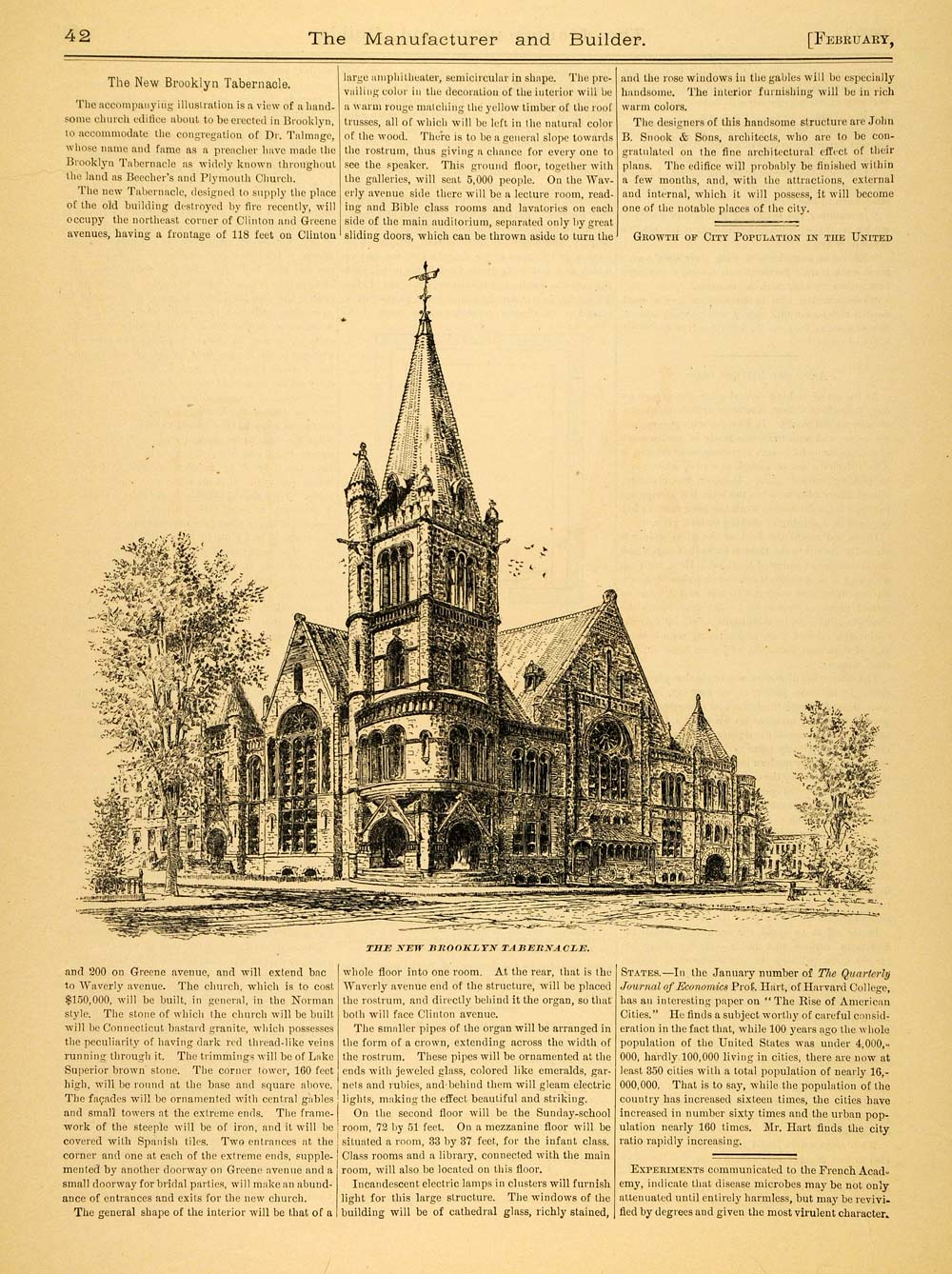 1890 Article Brooklyn Tabernacle Church Brooklyn NY Presbyterian MAB1