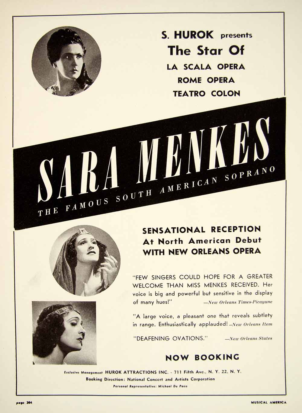 1948 Booking Ad Sara Menkes Soprano South American Opera Star Singer Music MAM1