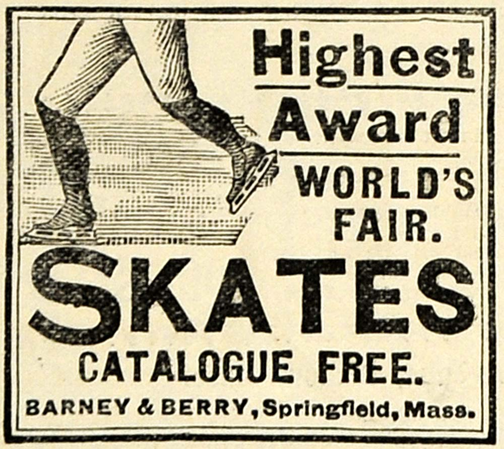 1896 Ad Barney & Berry Skates Springfield Massachusetts - ORIGINAL MAY1