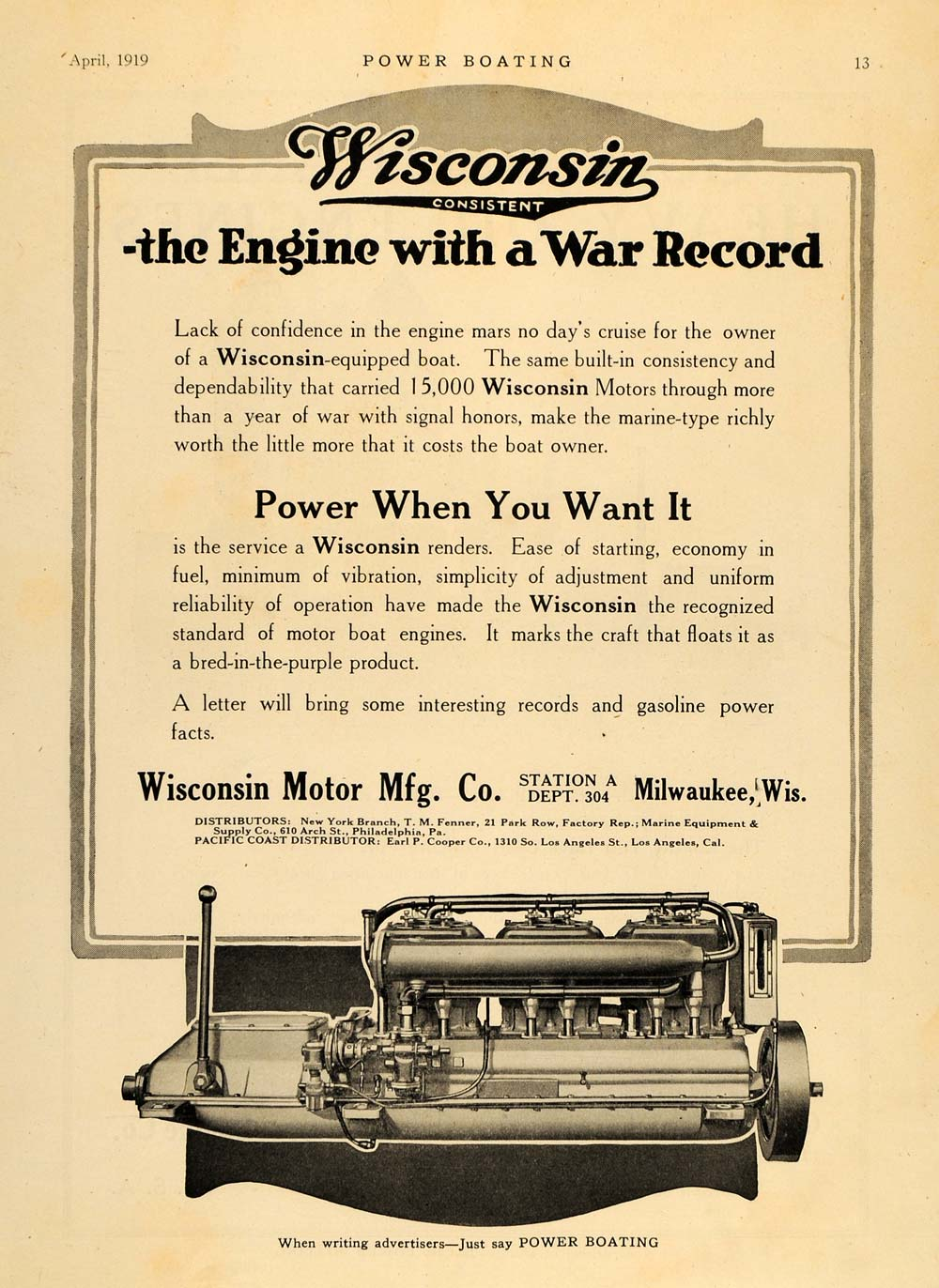 1919 Ad Wisconsin Motor Manufacturing Boating Engine - ORIGINAL ADVERTISING MB1