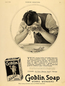 1919 Ad Cudahy Goblin Soap Man Face Washing Sink Faucet - ORIGINAL MB1