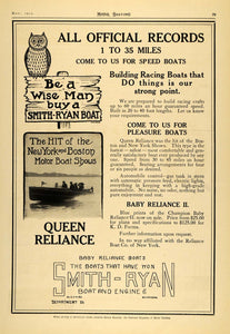 1913 Ad Smith Ryan Queen & Baby 2 Reliance Boat Pricing - ORIGINAL MB2
