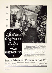 1942 Ad Smith Meeker Engineering Marine Electrical Battery Minesweeper WWII MB3 - Period Paper