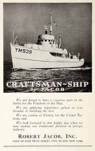 1942 Ad Robert Jacob Ship Boat Marine Navy WWII Victory War Construction MB3