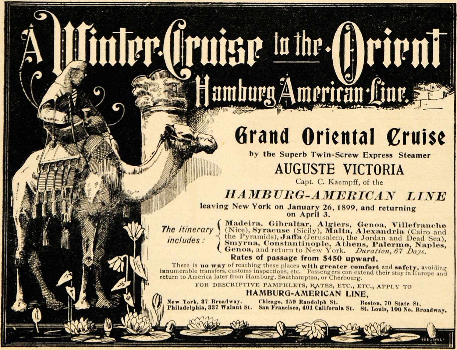 1898 Ad Hamburg American Line Cruise Ship Winter Orient - ORIGINAL MCC1