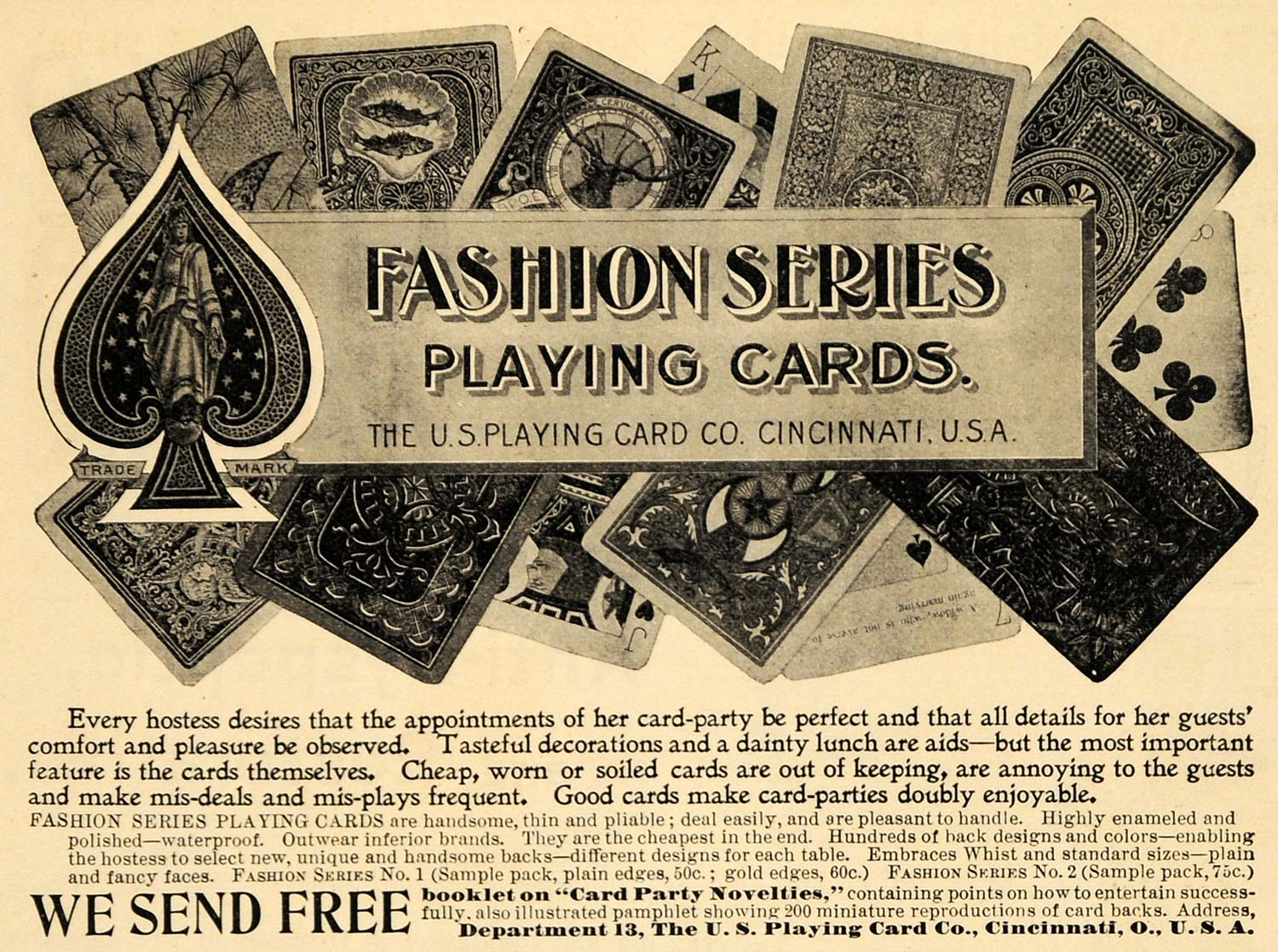 1898 Ad Fashion U. S. Playing Cards Game Novelty Poker - ORIGINAL MCC1