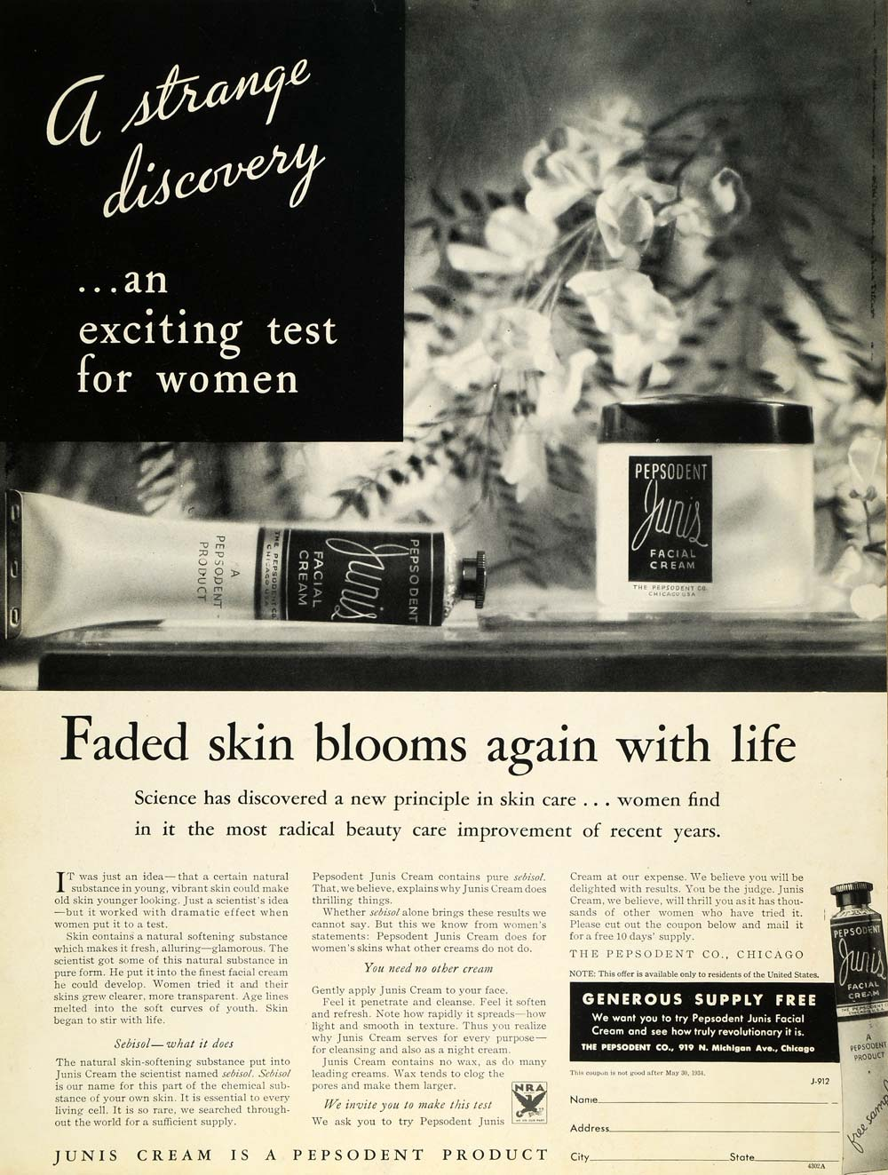 1933 Ad Pepsodent Junis Facial Cream Complexion Skin - ORIGINAL ADVERTISING MCC4