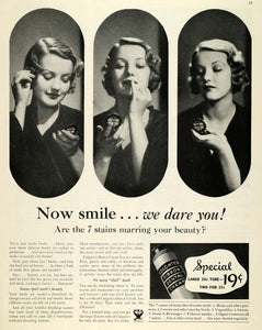 1933 Ad Colgate Ribbon Dental Cream Stains Beauty Price - ORIGINAL MCC4