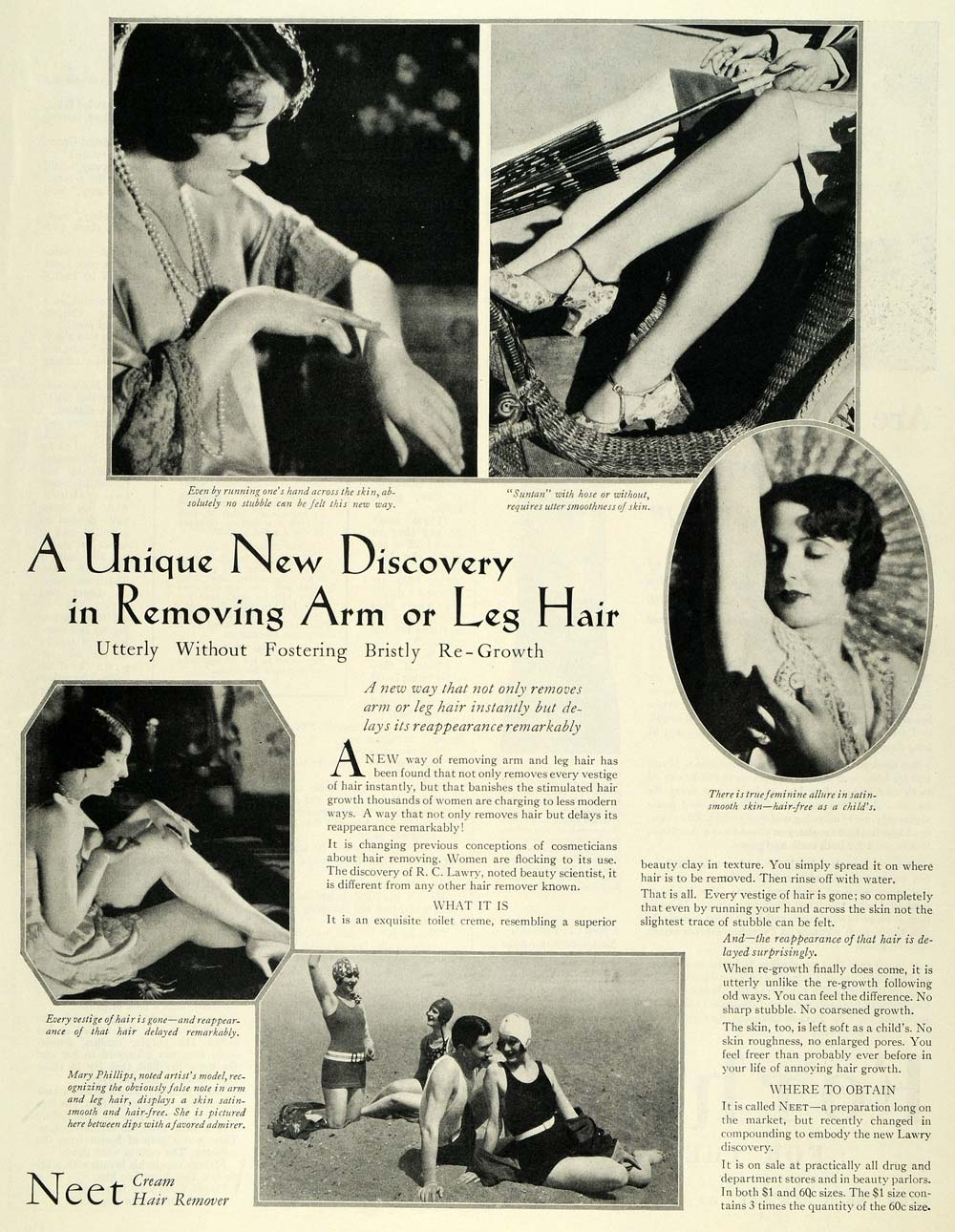 1929 Ad Neet Cream Hair Remover Arm Leg Stubble Women - ORIGINAL MCC4