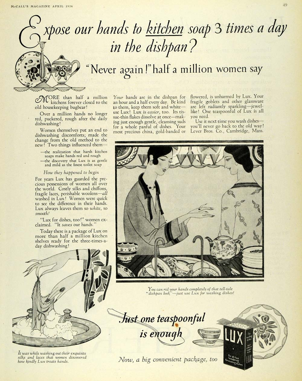 1926 Ad Lux Detergent Laundry Soap Washing Dishes Chore - ORIGINAL MCC4