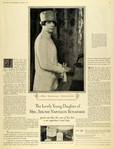1926 Ad Pond's Extract Cream Barbara Strebeigh Napoleon - ORIGINAL MCC4