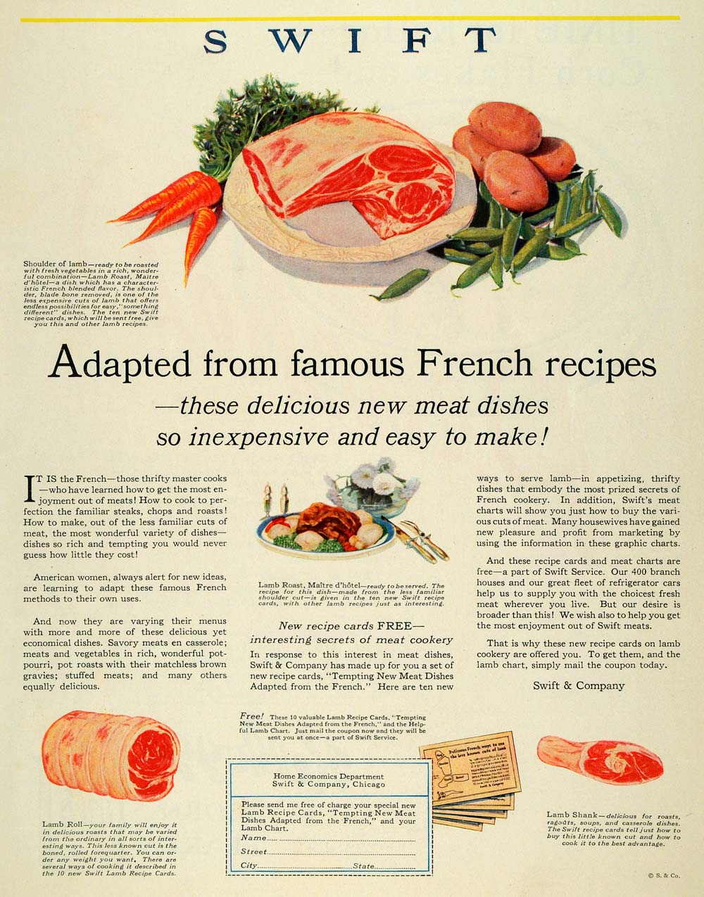 1927 ad swift co meat dishes lamb roast food chicago original meat dishes lamb roast food chicago original mcc4 forumfinder Gallery