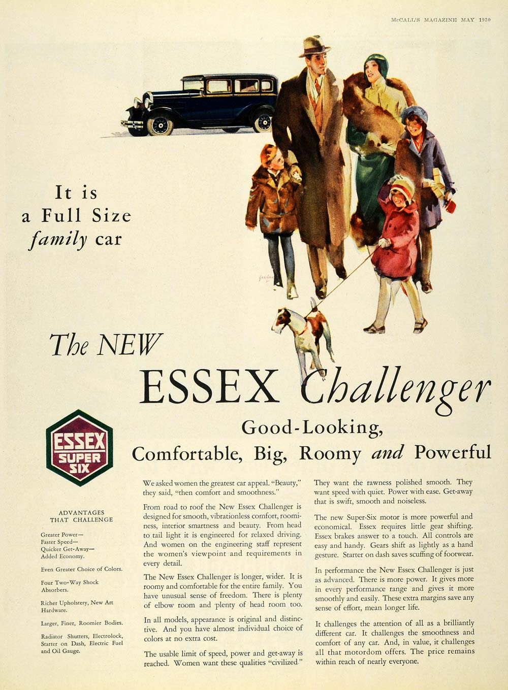 1930 Ad Essex Challenger Full Size Family Car Super Six - ORIGINAL MCC4