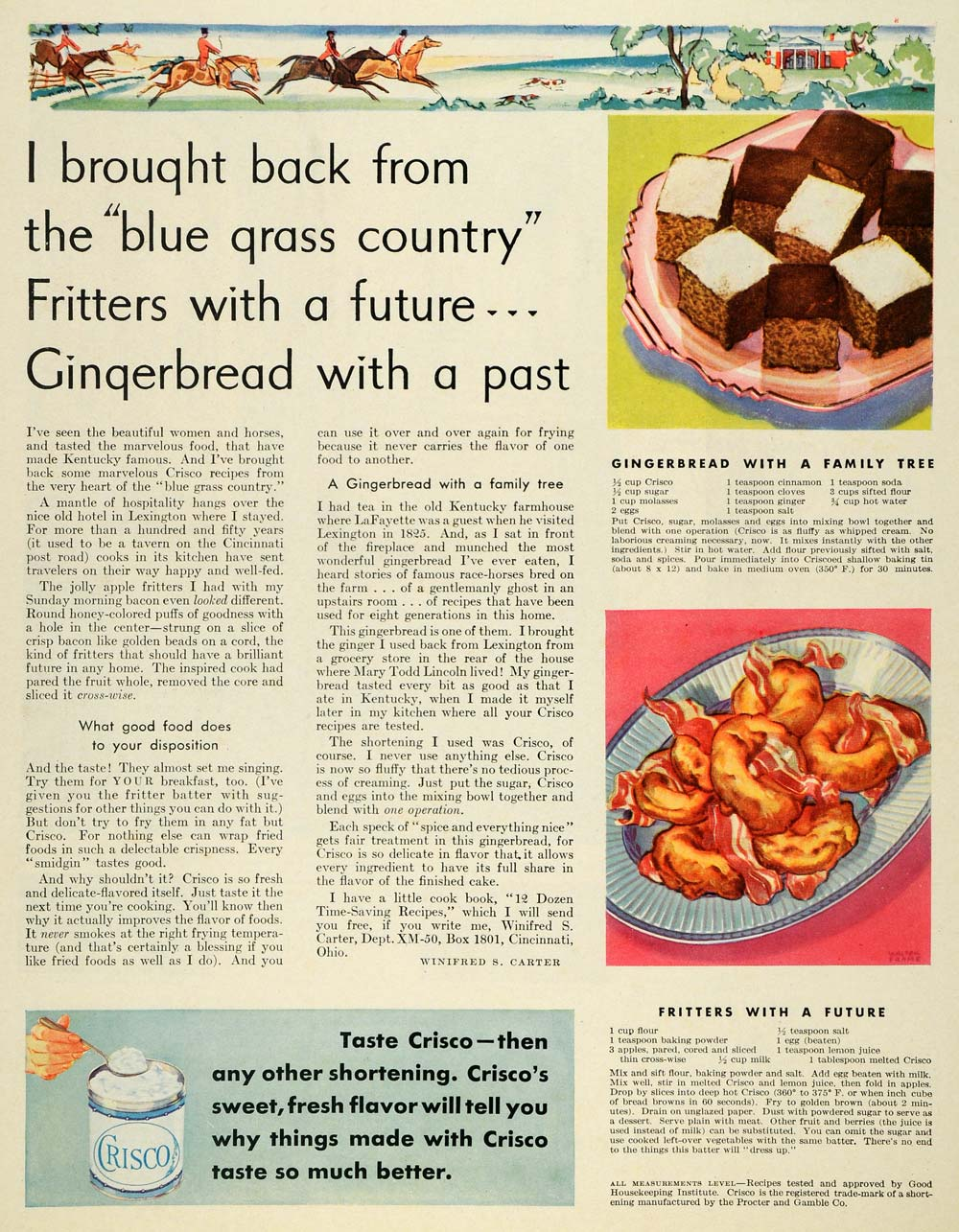 1930 Ad Winifred S Carter Recipes Fritters Crisco Cook - ORIGINAL MCC4