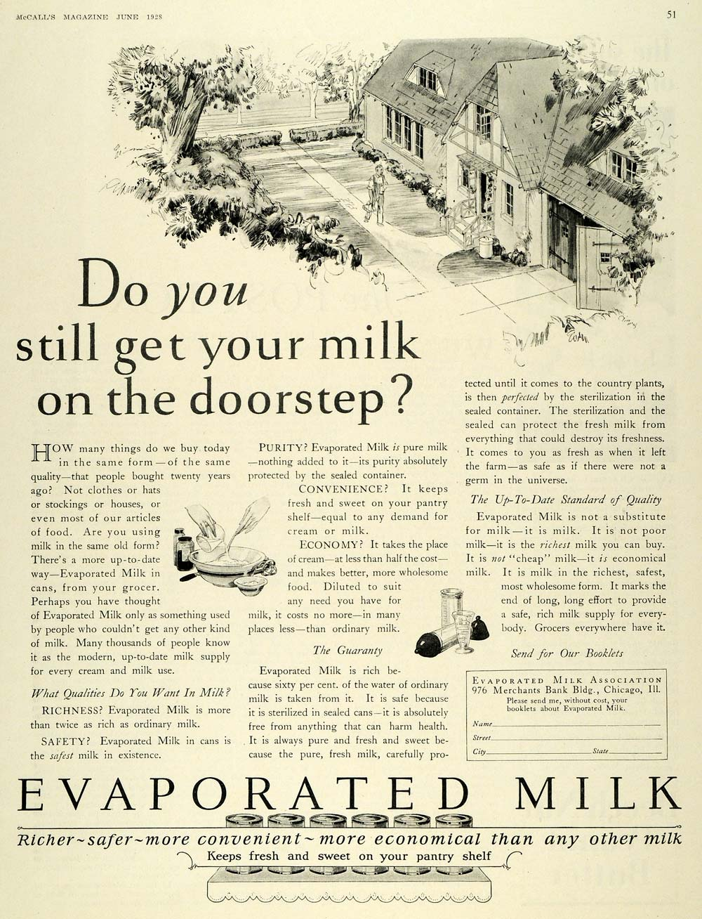 1928 Ad Evaporated Milk Association Canned Dairy Drink - ORIGINAL MCC4