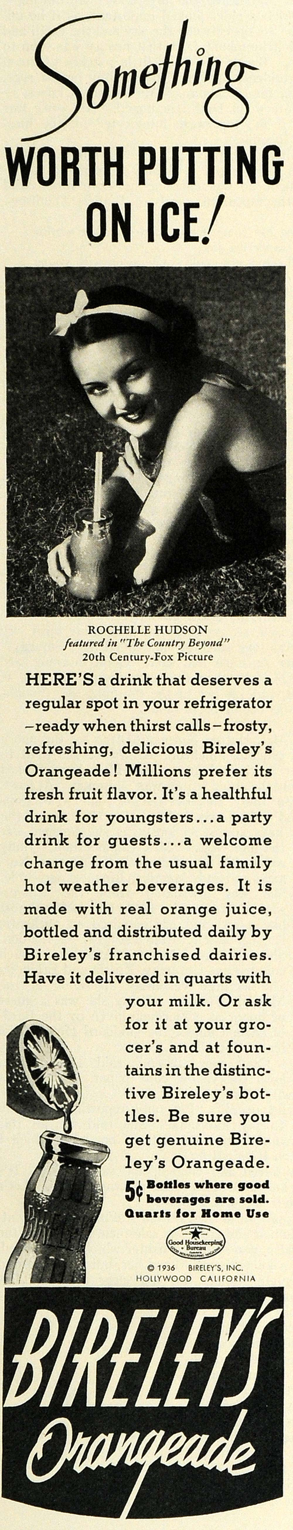 1936 Ad Rochelle Hudson Fox Actress Bireleys Orangeade - ORIGINAL MCC4