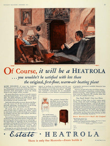 1928 Ad Estate Stove Heatrola Heating Interior Design - ORIGINAL MCC4