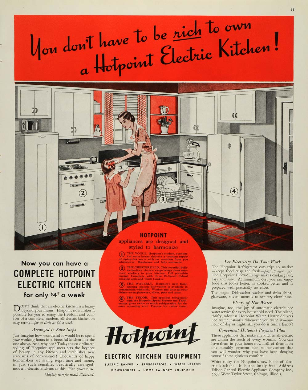 1937 Ad Edison Kitchen Appliances Oven Refrigerator - ORIGINAL ADVERTISING MCC4