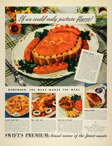 1937 Ad Swift Premium Meat Bacon Chicken Ham Meal Table - ORIGINAL MCC4