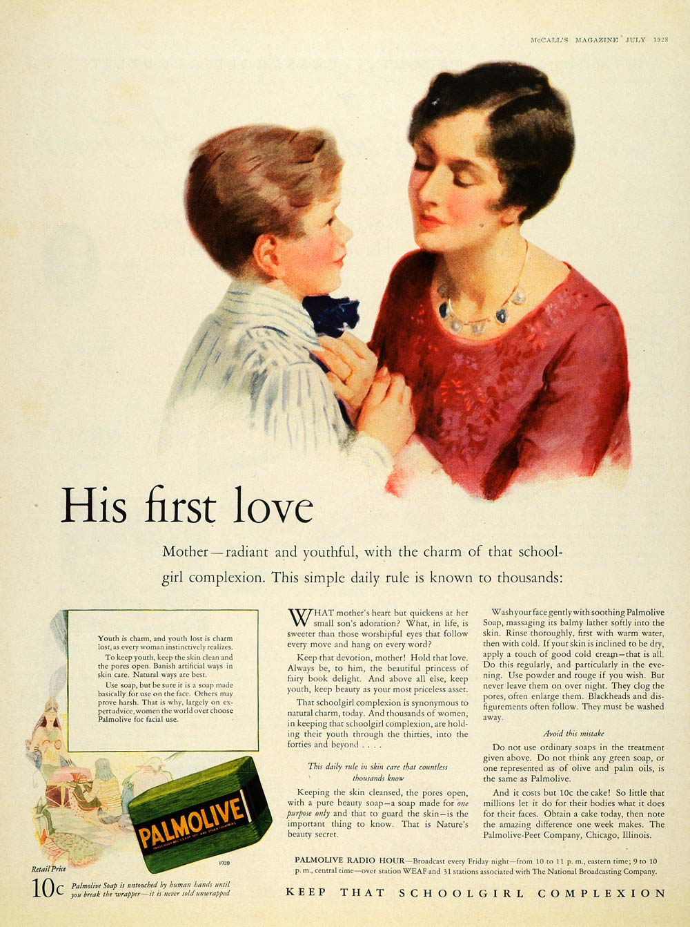 1928 Ad Palmolive Peet Soap Price Mother Son Skin Care - ORIGINAL MCC4
