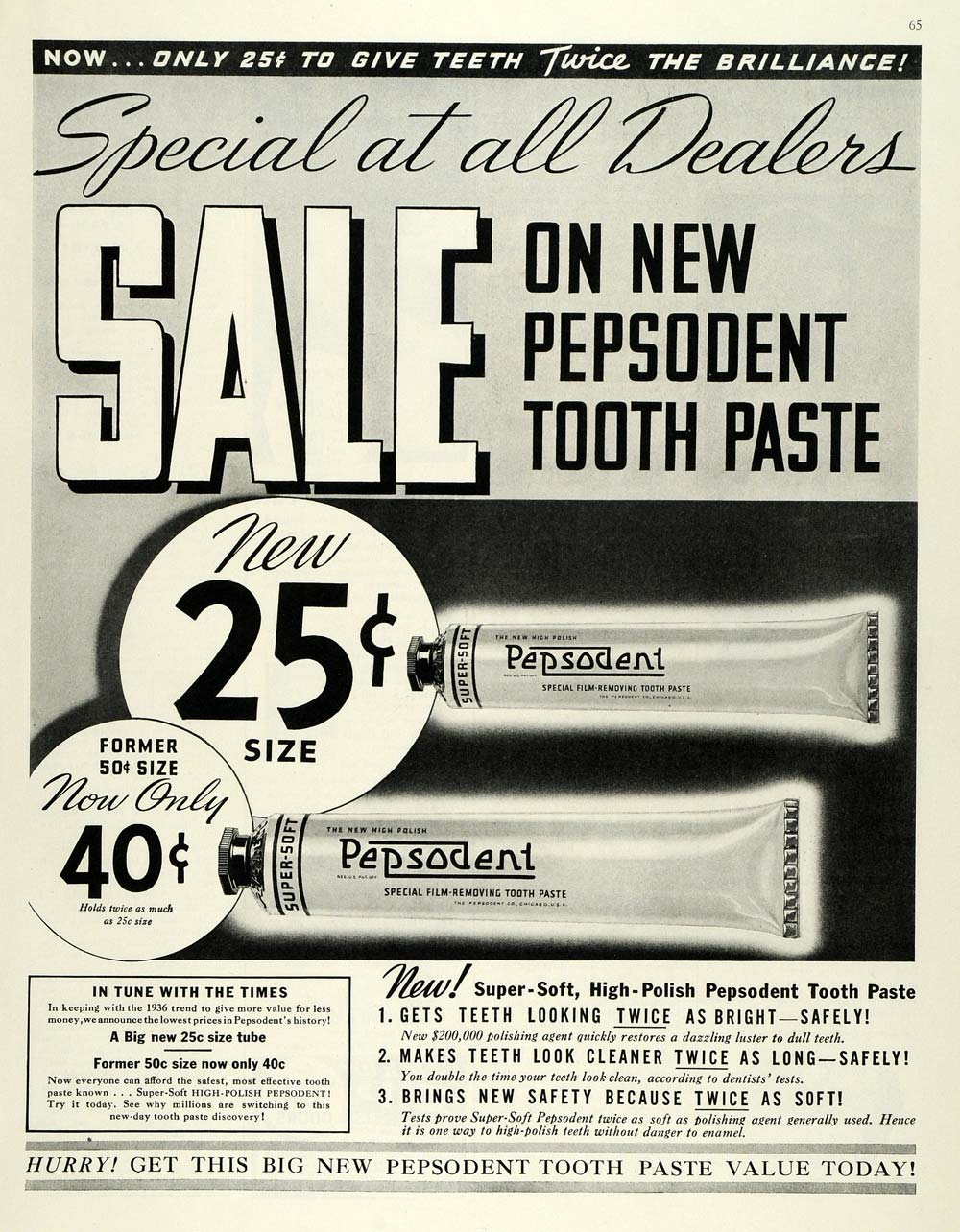 1936 Ad Pepsodent Toothpaste Dental Dentifrice Pricing - ORIGINAL MCC4