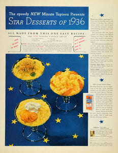 1936 Ad Minute Tapioca Star Desserts General Foods - ORIGINAL ADVERTISING MCC4
