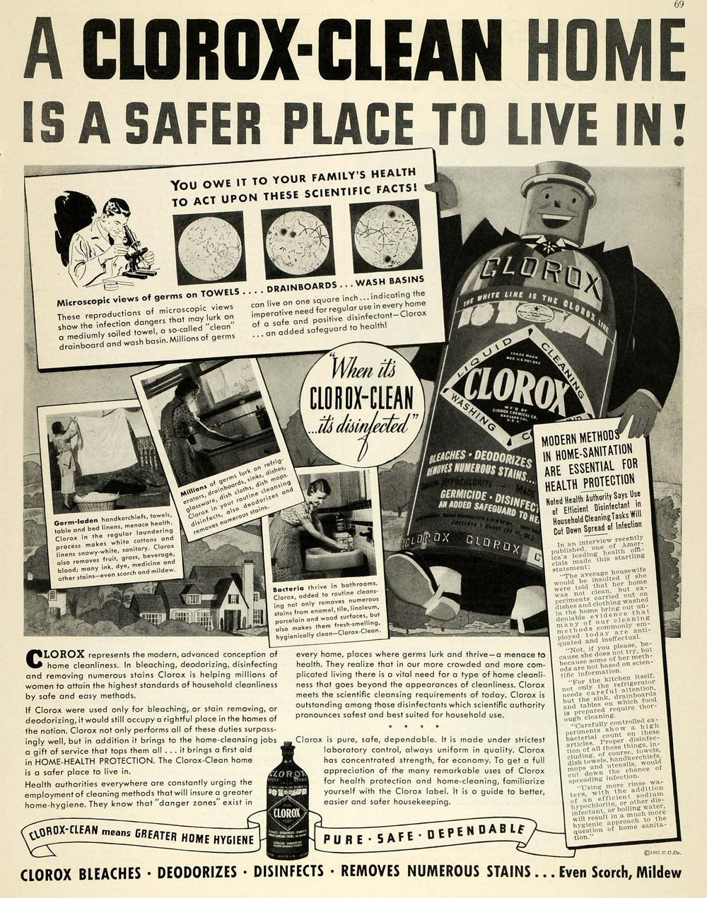 1937 Ad Clorox Clean Disinfectant Bleach Science Facts ...