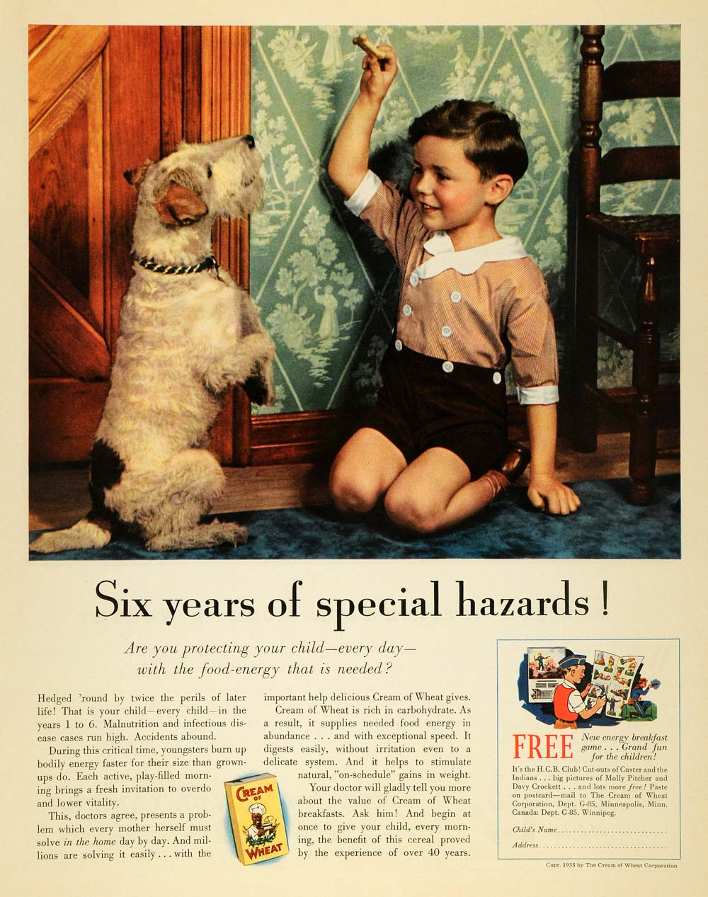 1935 Ad Special Hazards Cream of Wheat Breakfast Cereal - ORIGINAL MCC5