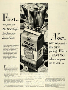 1935 Ad Dated Coffee Bag Chase Sanborns Standard Brands - ORIGINAL MCC5