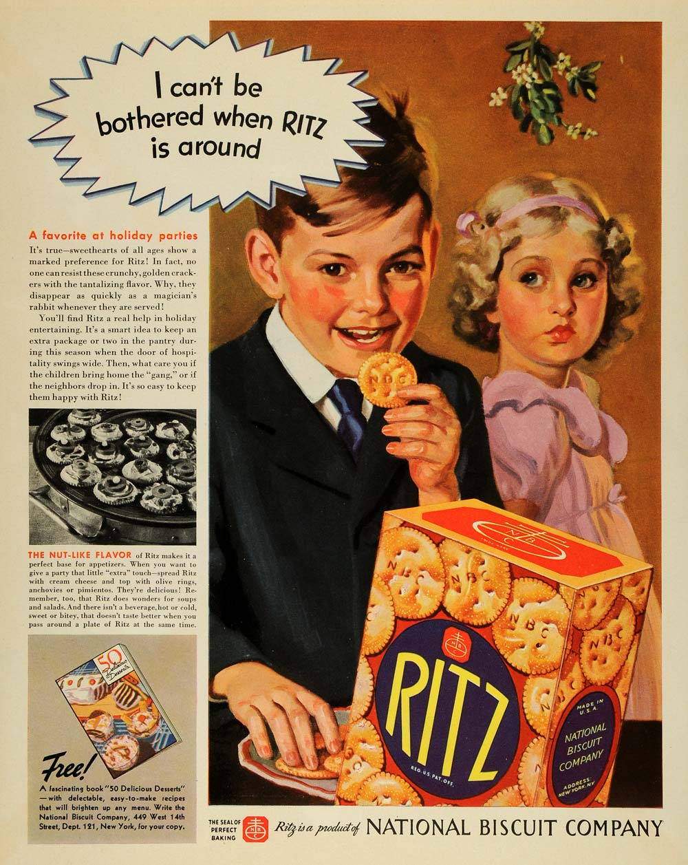 1937 Ad Holiday Party Snack Ritz Crackers Nut Flavor - ORIGINAL ADVERTISING MCC5