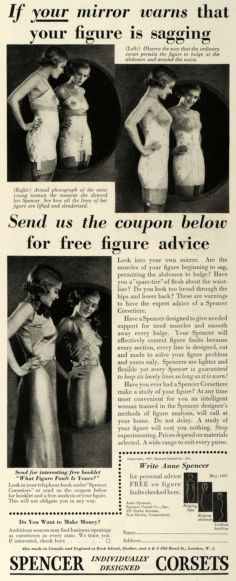 1937 Ad Spencer Individually Designed Corsets Figure - ORIGINAL ADVERTISING MCC5