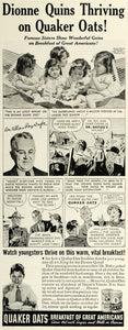 1937 Ad Dionne Quins Thriving on Quaker Oats Cereal - ORIGINAL ADVERTISING MCC5