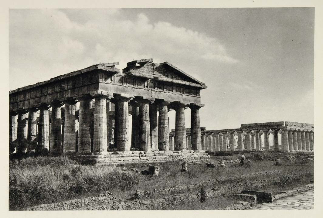 1937 Ruin Temple Hera Apollo Paestum Architecture Italy - ORIGINAL MD1