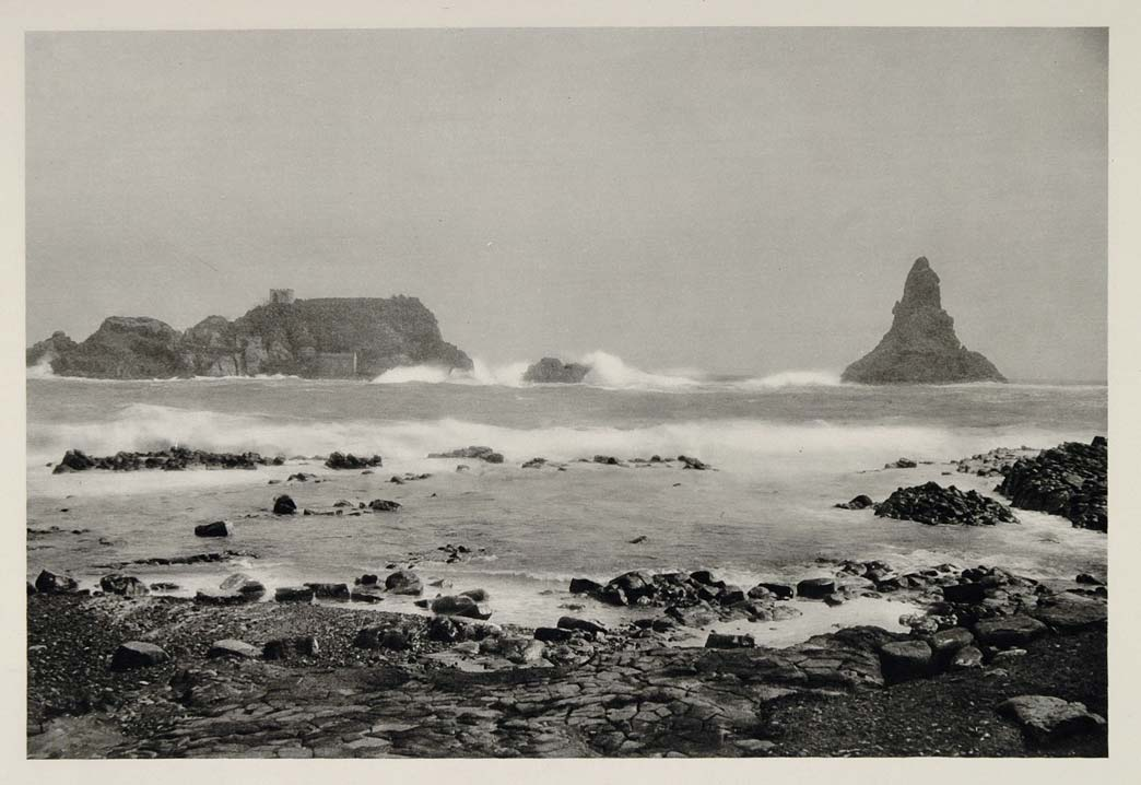 1937 Cyclops Rocks Coast Sicily Italian Island Italy - ORIGINAL PHOTOGRAVURE MD1