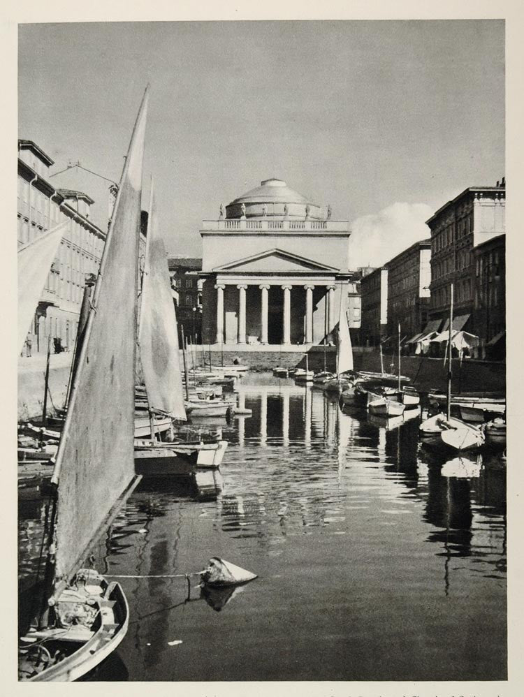 1937 Canal Grande Boats Church St. Antonio Triest Italy - ORIGINAL MD1