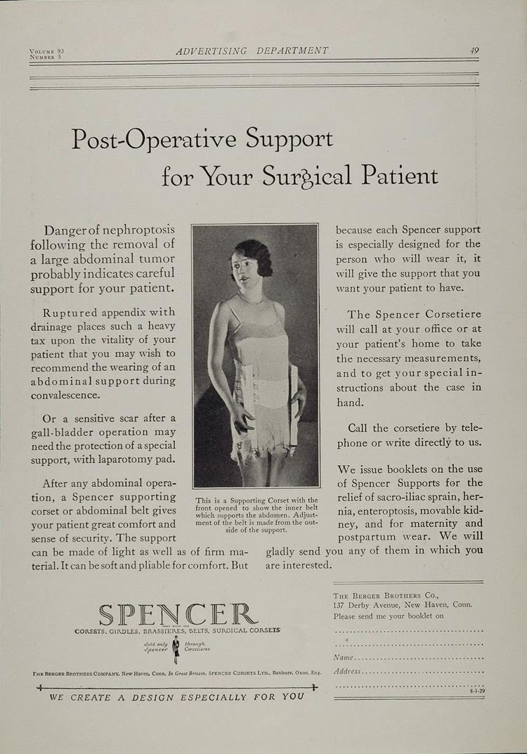 1929 Print Ad Spencer Supporting Corset Berger Brothers - ORIGINAL MED4