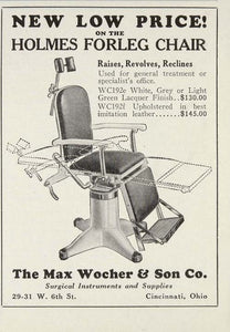 1929 Ad Holmes Forleg Medical Treatment Chair Wocher - ORIGINAL ADVERTISING MED4
