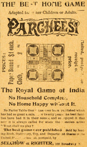 1894 Ad Selchow Righter Parcheesi India Board Game NY - ORIGINAL ADVERTISING MF1