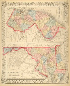 1872 Map Maryland Delaware New Jersey State Counties - ORIGINAL MGA1