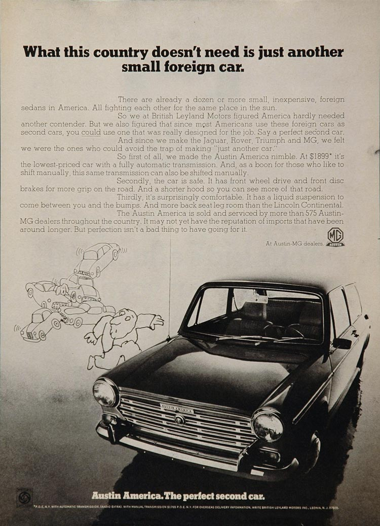 1976 Ad MG Austin America British Leyland Car Price - ORIGINAL ADVERTISING MG