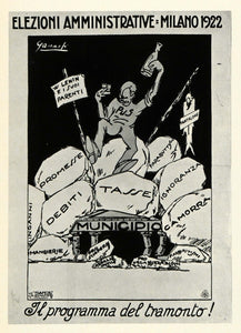 1971 Print Poster Milan Local Elections Italy Taxes Political Ganassi MI1