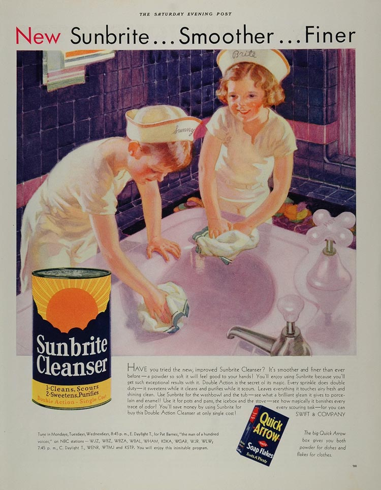 1932 Ad Sunbrite Cleanser Bathroom Bathtub Tub Children - ORIGINAL MIX3