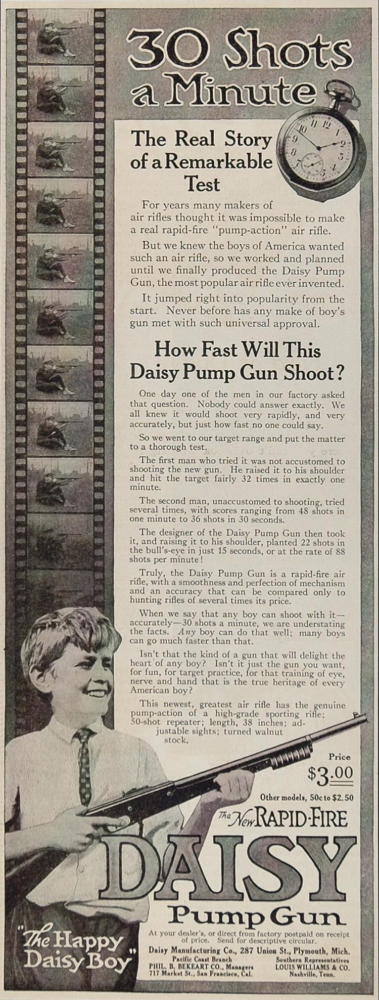 1915 ORIG. Ad Rapid Fire Daisy Pump Gun Air Rifle Boy - ORIGINAL MIX3