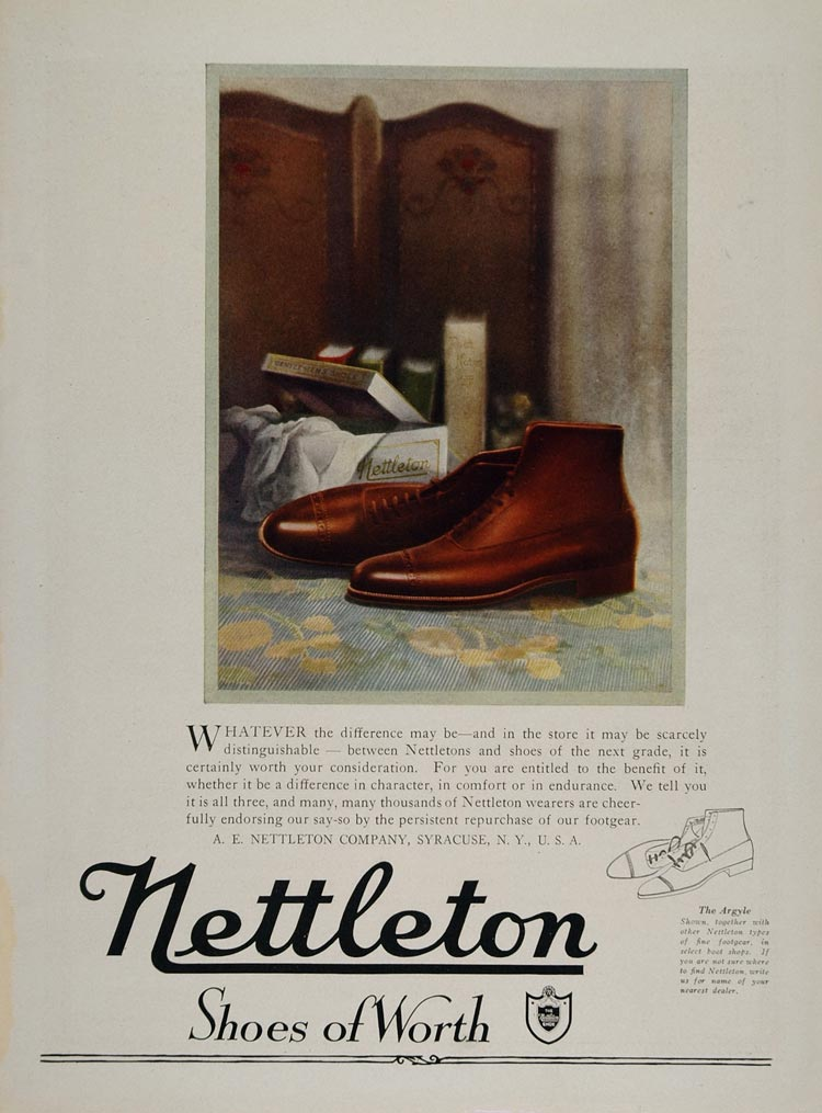 1920 Print Ad A. E. Nettleton Mens Shoe Argyle Syracuse - ORIGINAL MIX4