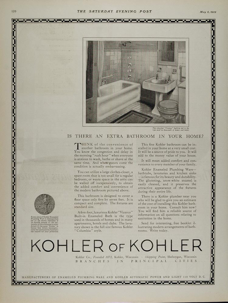 1922 Ad Kohler Viceroy Built-in Bathtub Tub Bathroom WI - ORIGINAL MIX6