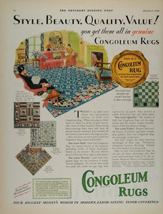 1930 Color Ad Congoleum Rug Du Barry Floor Living Room - ORIGINAL MIX6