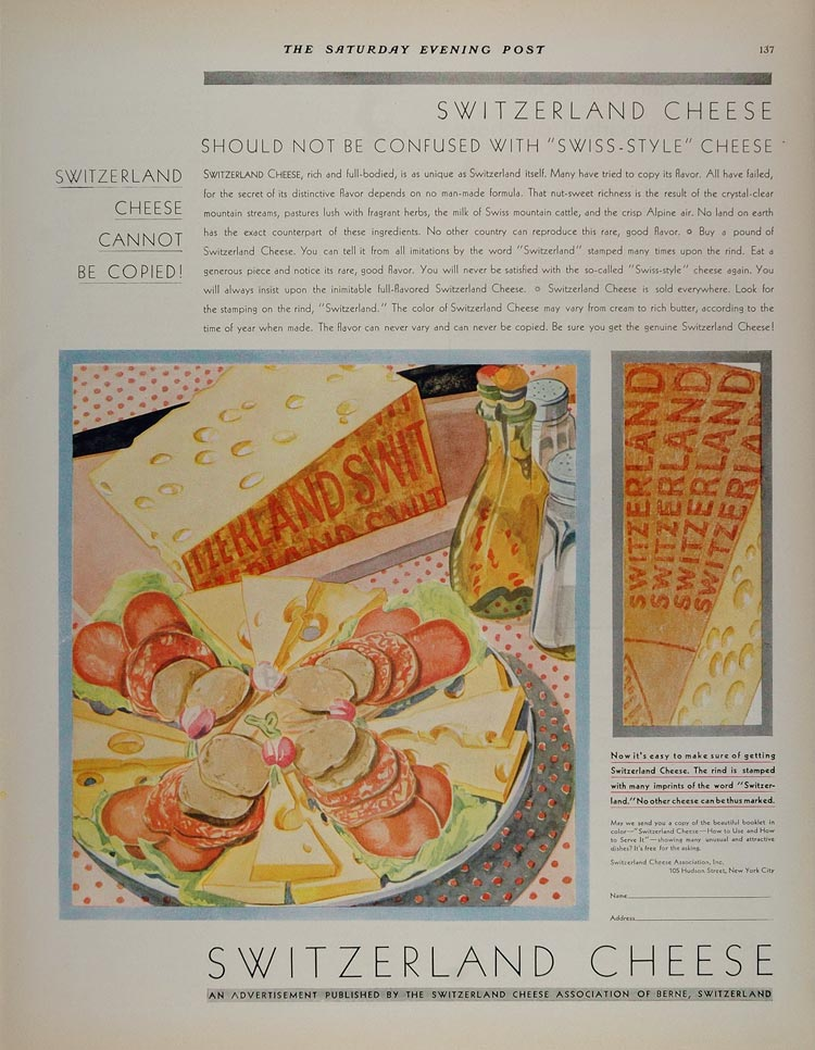 1930 Vintage Ad Swiss Cheese Switzerland Rind Tray NICE - ORIGINAL MIX6