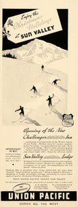 1937 Ad Union Pacific Challenger Inn Sun Valley Skiing - ORIGINAL MIX9