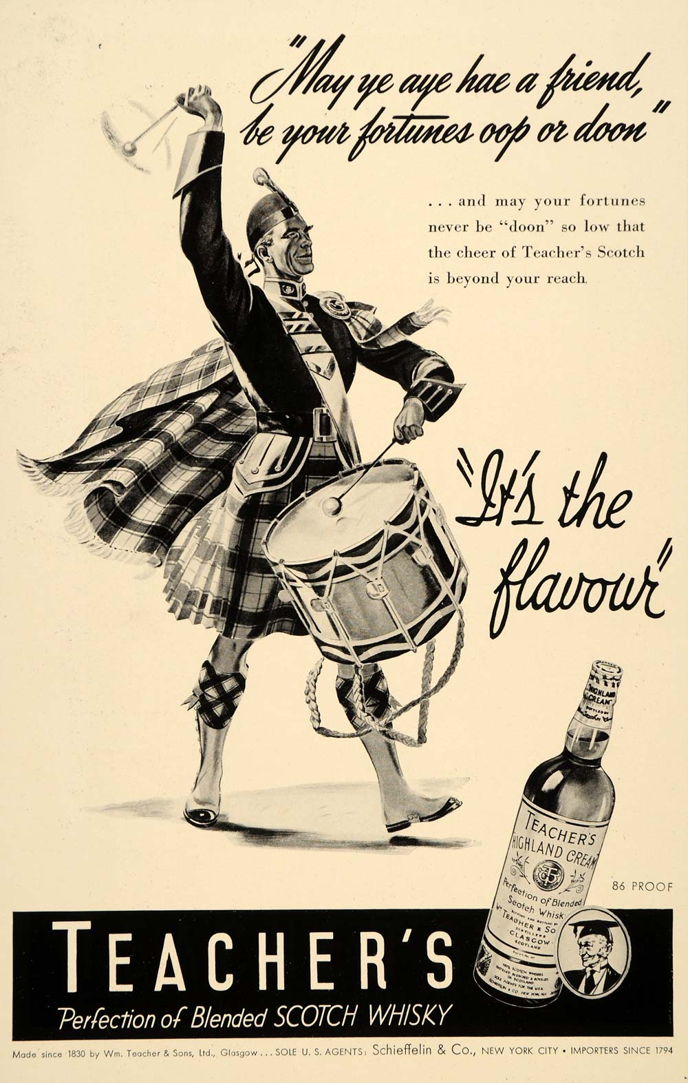 1941 Ad Teacher's Highland Cream Whisky Kilt Drum March - ORIGINAL MIX9